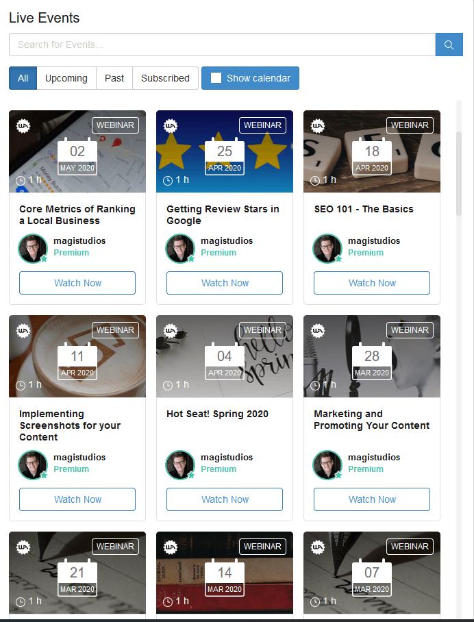 Wealthy Affiliate Live Webinar Classes Screenshot