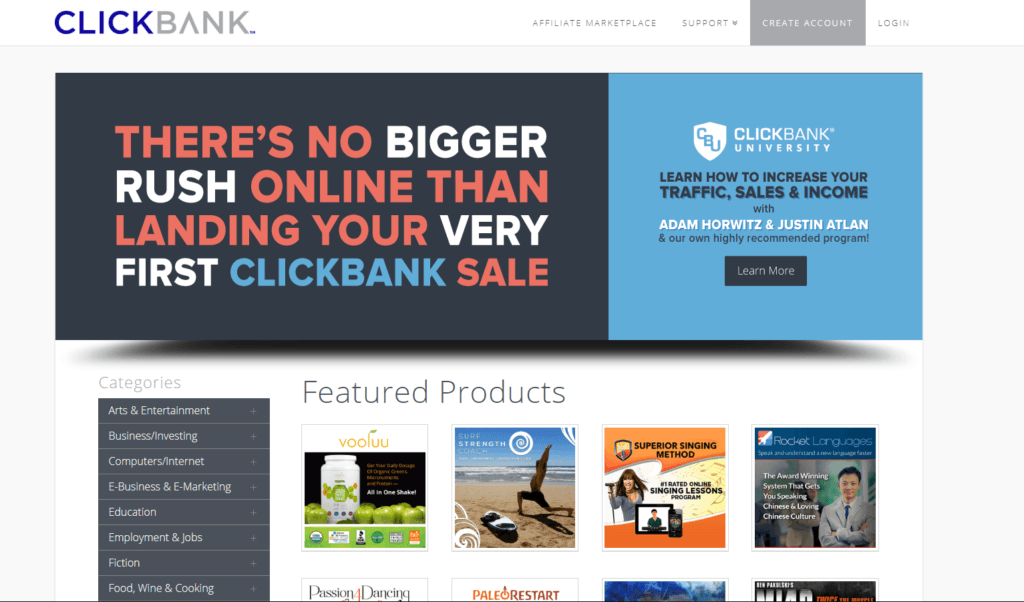 ClickBank Front Page