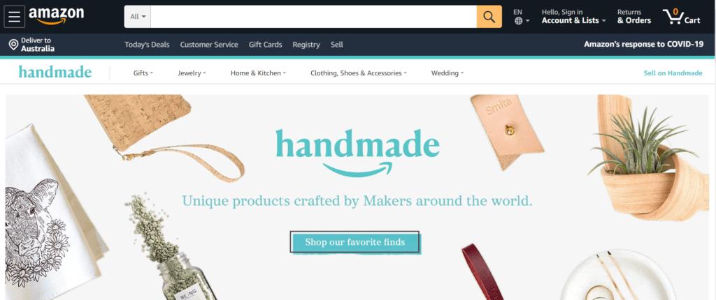 Amazon Handmade Homepage