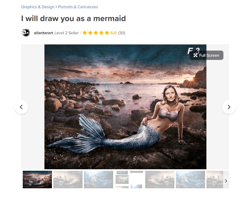 Fiverr Gig - Draw You as a Mermaid