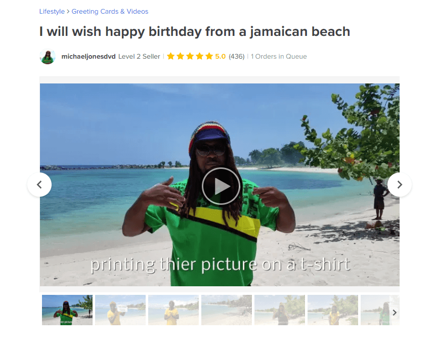 Fiverr gig - Happy Birthday Wish From a Jamaican Beach