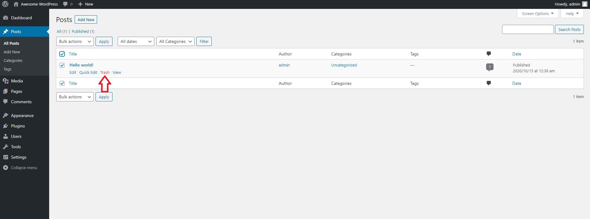 Delete Default WordPress Posts