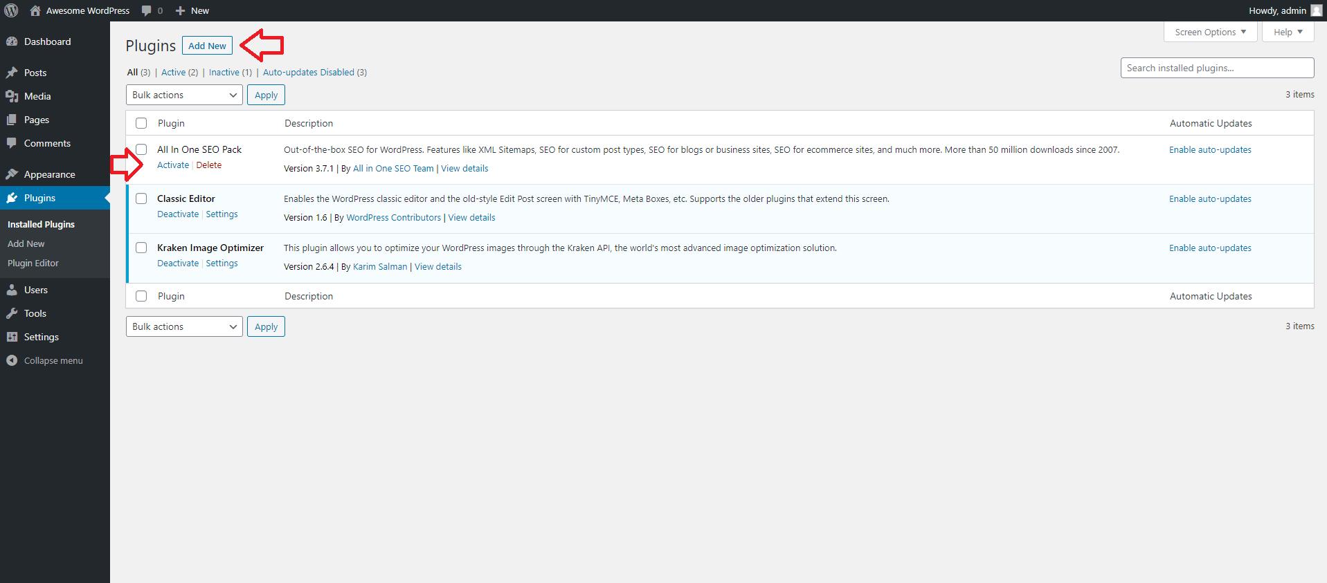 How to Use the WordPress Dashboard - Add Plugins to WordPress