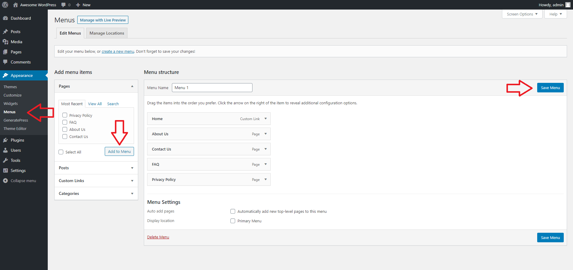 How to Use the WordPress Dashboard - Creating a WordPress Menu