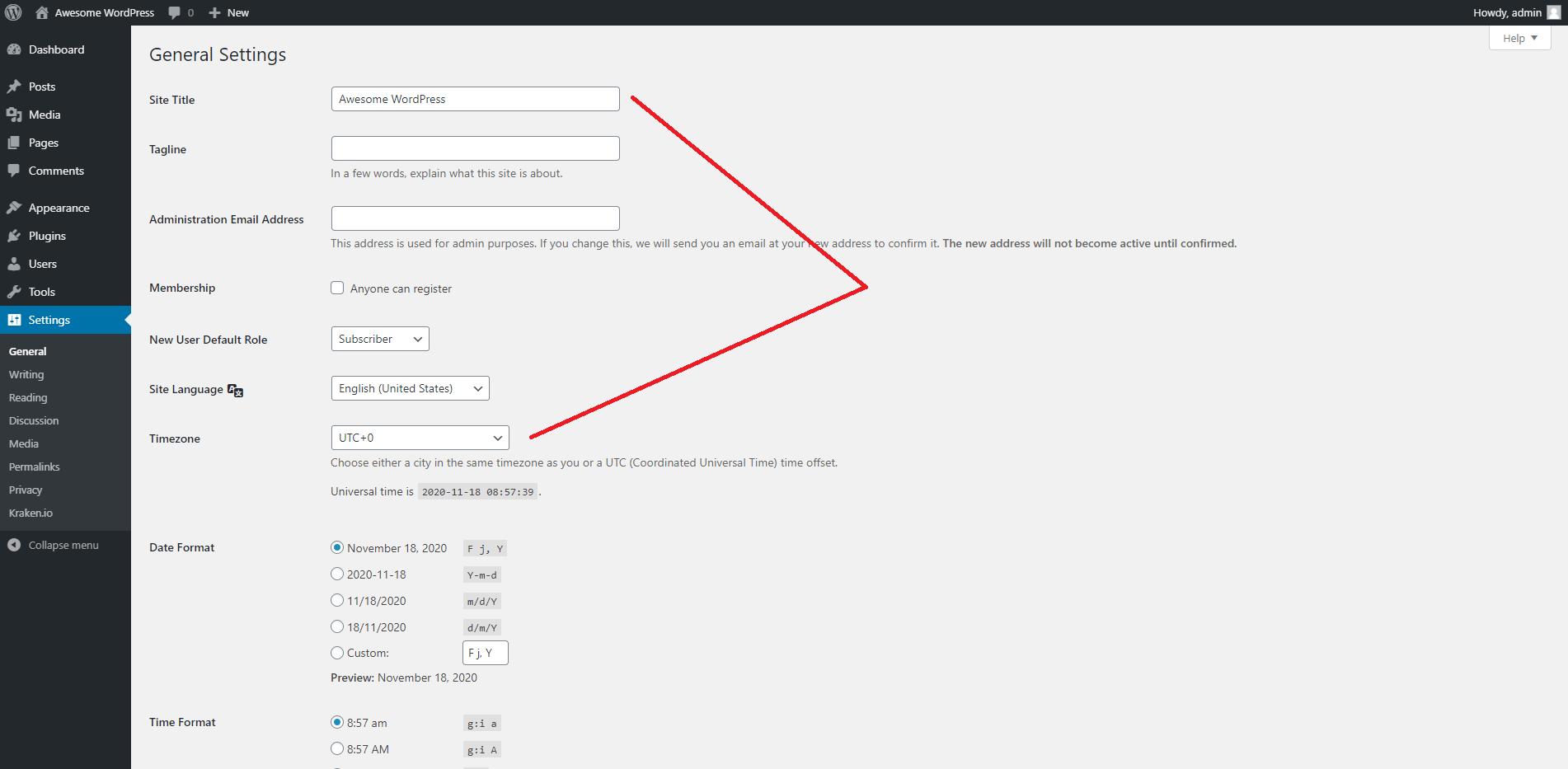WordPress Dashboard General Settings