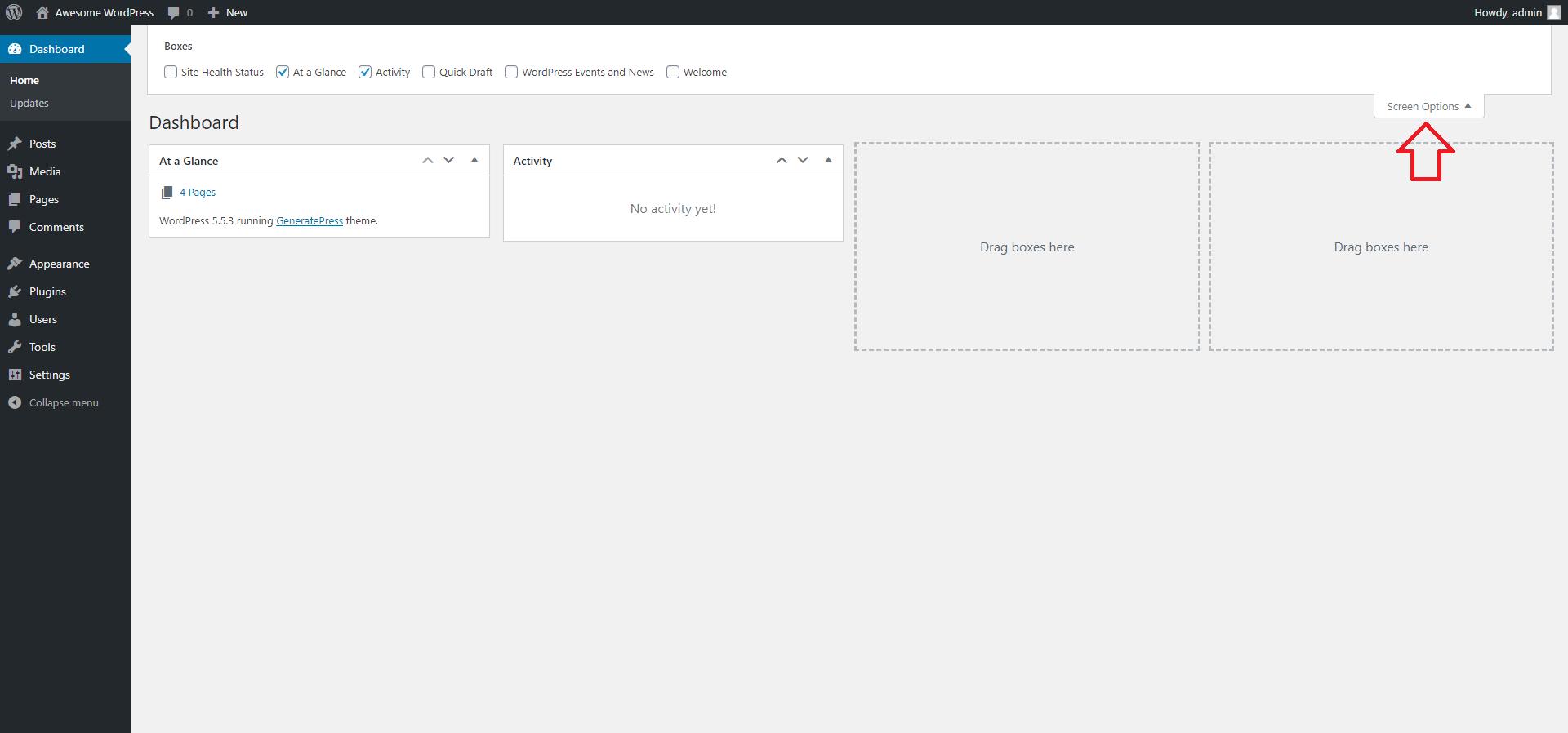 WordPress Dashboard Home Screen Options