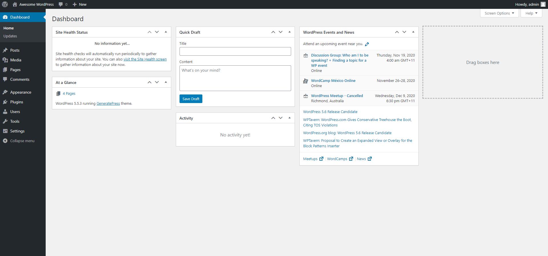 WordPress Dashboard Home