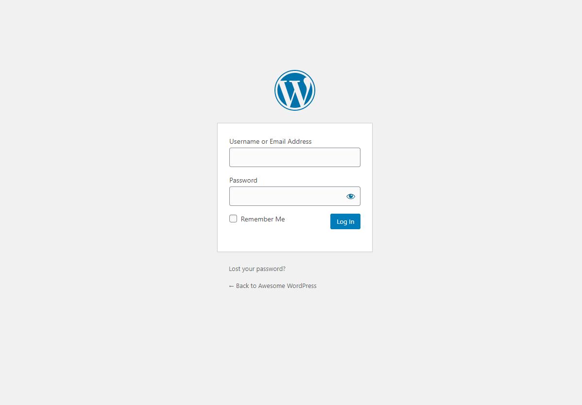 WordPress Dashboard Login Screen